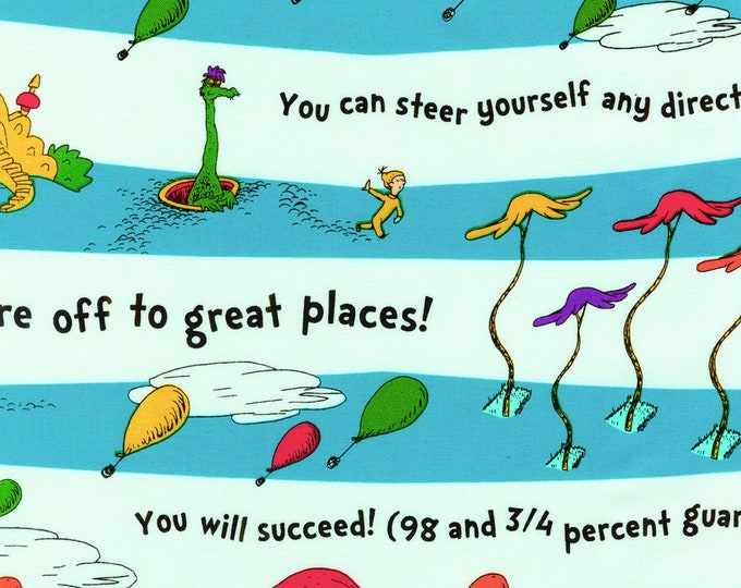 DR. SEUSS FABRIC, Oh The Places You Will Go Cotton Horizontal Stripe by Robert Kaufman