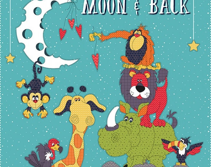 MOON AND BACK, Children's Cotton Cloth Panel by Leanne Anderson 24 x 44 inches