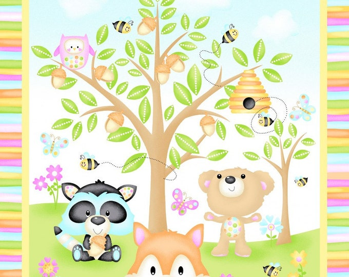 SPOChildren's Fabric by Woodland Cuties  Cotton Panel 23.5 x 44 inches by First Blush Studio for Henry Glass