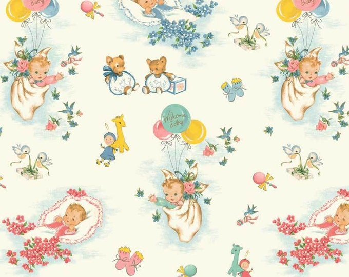 WELCOME BABY COTTON fabric by Washington Street Studio 42-44 Inches Wide