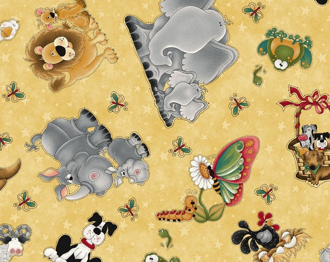 WHEN I AM Big, Yellow Multi Tossed Animals Childrens Cotton Fabric 44 inches wide