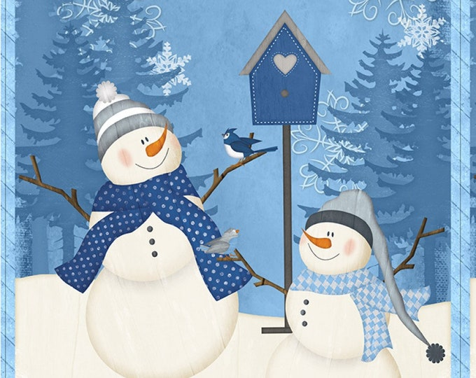 SNOWMAN HOLIDAY PANEL, Welcome Winter Holiday Snowman Panel 24-44 Inches Wide