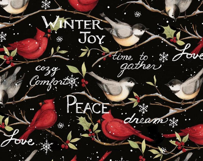 CHRISTMAS WINTER SNOWBIRDS, Cotton fabric by Springs Creative 44 Inches Wide