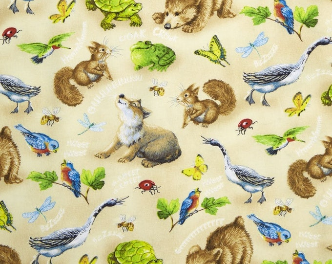 Children's Animal Fabric, Quiet Bunny and The NIght Song Cream/Multi Tossed Animals Cotton Fabric