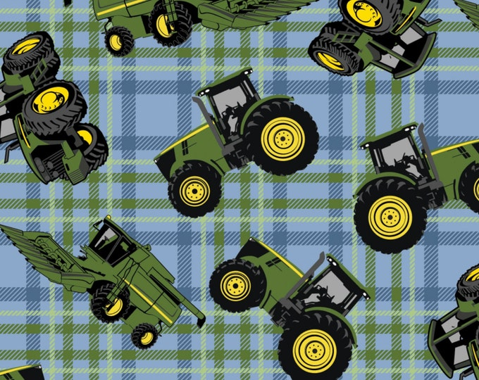 John Deere Blue/Green Plaid Cotton Children's Fabric by Springs Creative