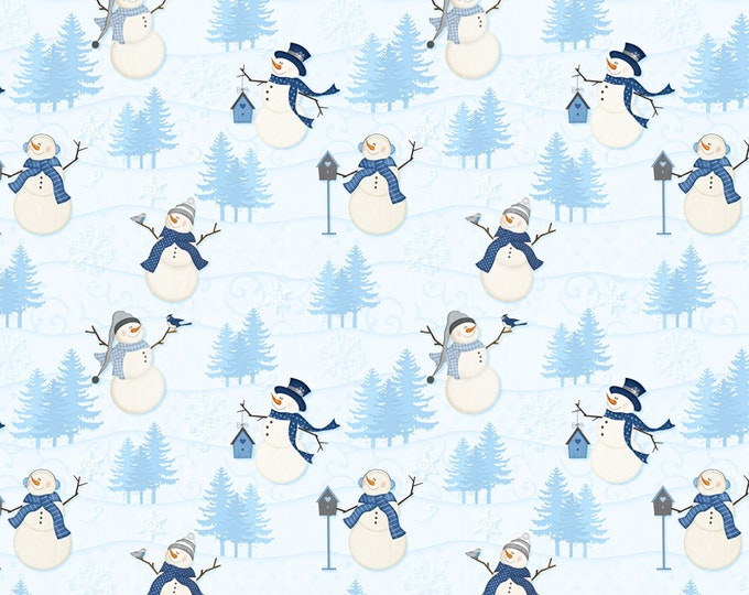 CHRISTMAS HOLIDAY FABRIC, Welcome Winter Snowmen Cotton Holiday Fabric 44-45 Inches Wide