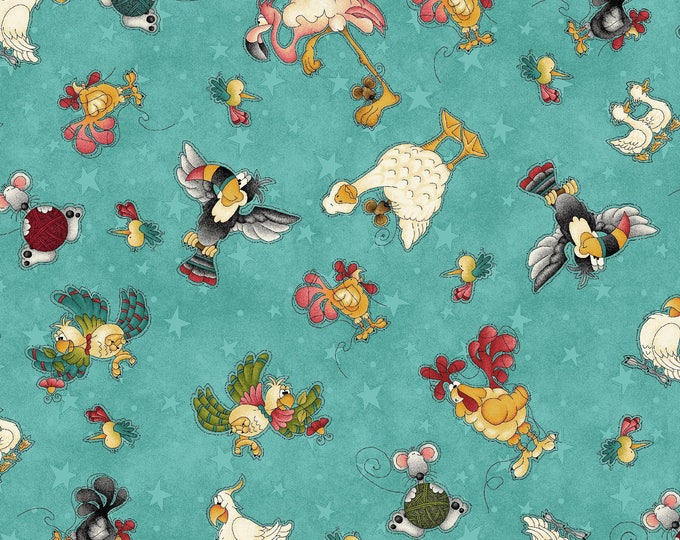 Children's Fabric, McAnderson Farm Cotton Fabric Teal/Multi Animal Characters by Leanne Anderson