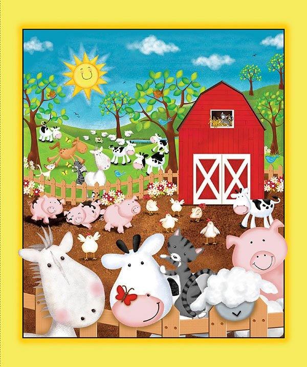 Children S Fabric Animal Farm Cotton Panel By Victoria Etsy