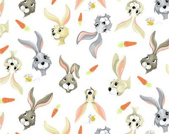 Harold The Hare Multi/Carrots Cotton Yardage from Susybee for Clothworks 43/44 Inches Wide