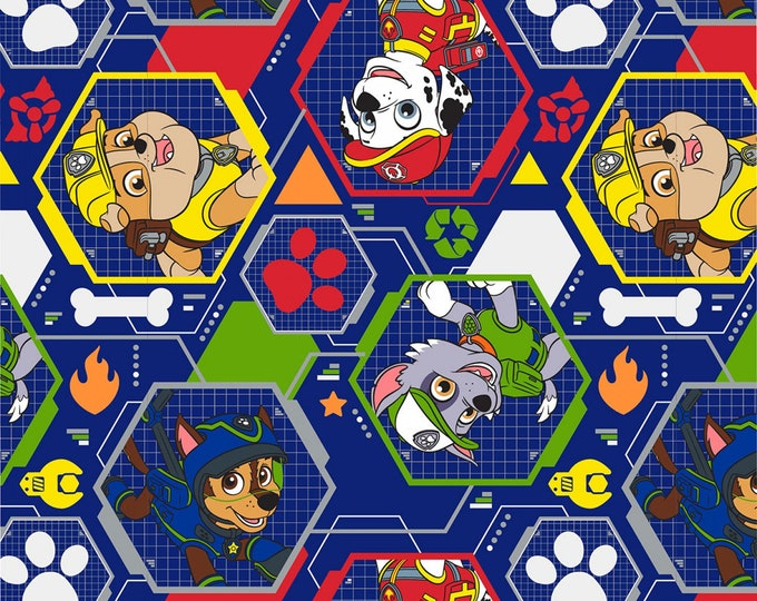 PAW PATROL BLUE Mission Pawsible Children's Cotton Fabric 44 inches wide