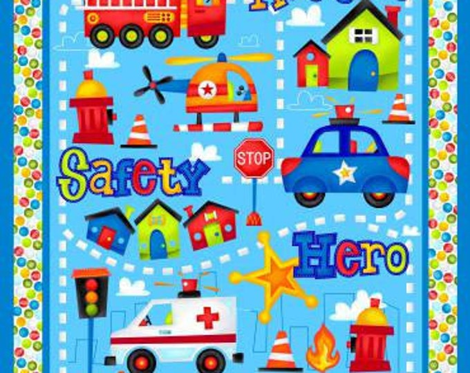 Children's Fabric Panel, Be My Hero Blue Multi by Henry Glass Cotton Panel 36 x 44 inches