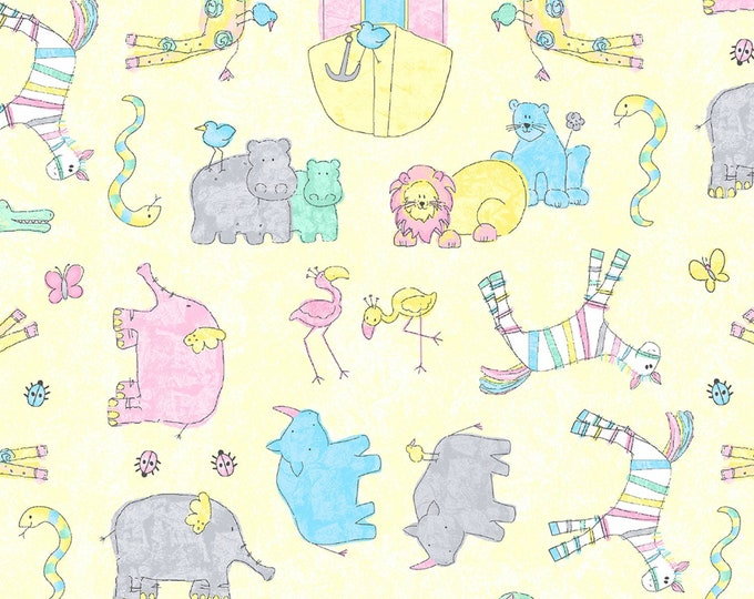 BABY FLANNEL, Two By Two Yellow Multi-Tossed Cotton Flannel by Cheri Strole 44 inches wide