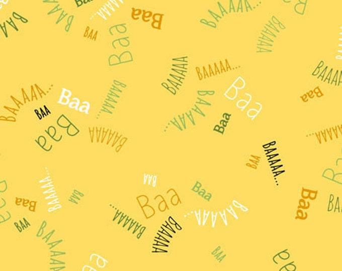 Children's Fabric, Sheeps & Peeps Cotton Fabric Yellow/Multi Words by Quilting Treasures