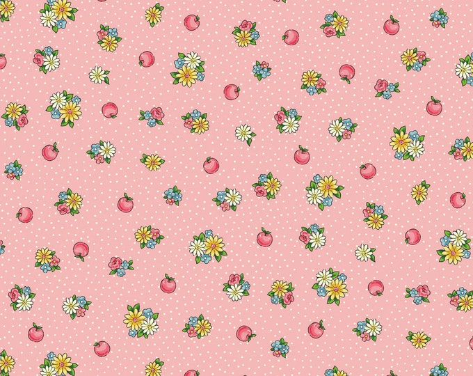 Children's Fabric, Vintage Dear Little World Margaret and Sophie 2 Cotton Fabric Pink/Multi Flowers Fabric