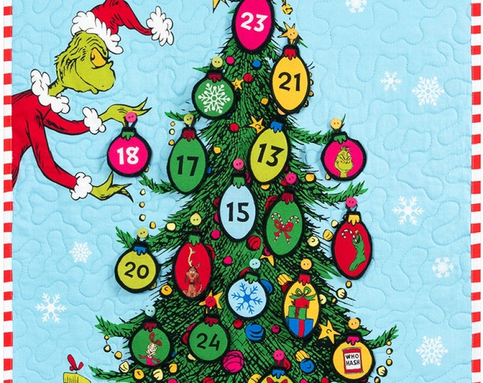 HOLIDAY CHRISTMAS KIT, Grinchmas Tree Countdown Cotton Panel 22 x 35 Inches
