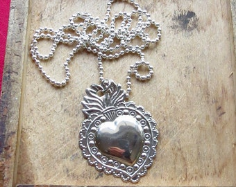 """Intricate 1.5"""" SACRED HEART Milagro Pendant and 24"""" Sterling Silver Plated Necklace- Perfect for your holiday gift giving"""
