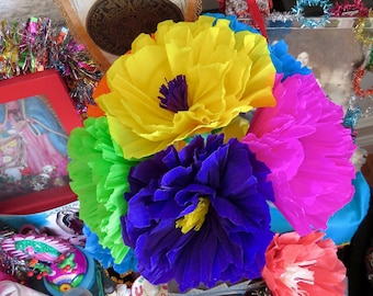 Mexican paper flowers etsy vibrant 11 x 8 bouquet day of the dead colorful paper flowers 6 paper flowers perfect for your mexican altar mightylinksfo