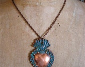 LG. SACRED HEART Intricate Copper Milagro Necklace- Perfect gift for the one you love- 2.75 quot