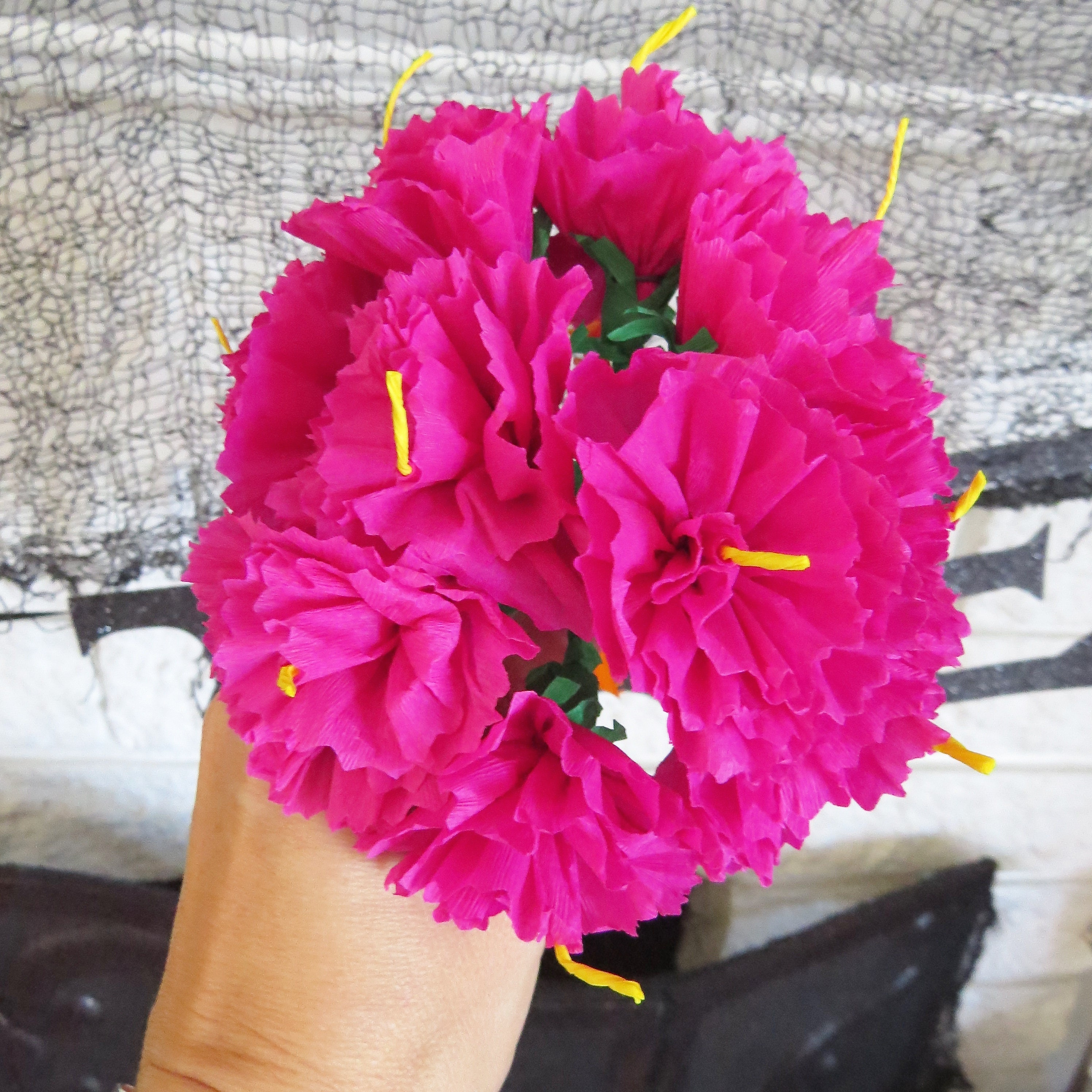 Day Of The Dead Inspired Hot Pink Paper Flower Bouquet Perfect For Your Altar
