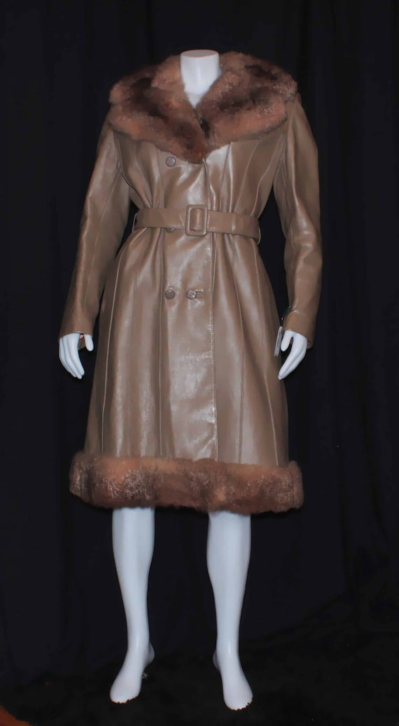 1970s leather and fur coat, by Hurtig, vintage win