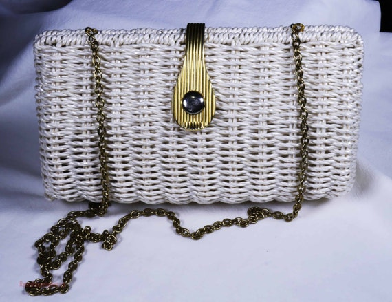 1960s summer white wicker purse with chain strap s