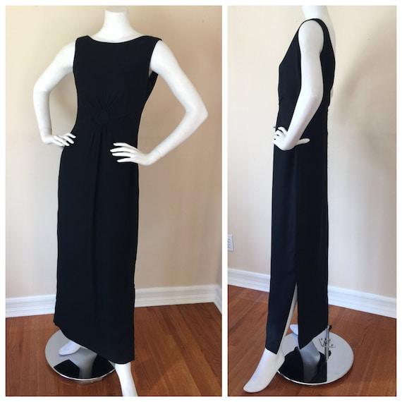 Vintage 1950s Black Sleeveless Floor length Dress