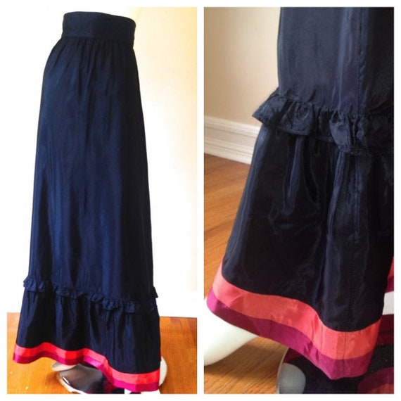 Vintage 1970's Black Maxi Skirt with Pink & Magent