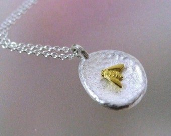 Bee Necklace, Tiny Bumble Bee Necklace, Bee Pendant, Bee Jewelry, Sterling Silver, 18k Gold Bee, Bee Charm, Made to Order