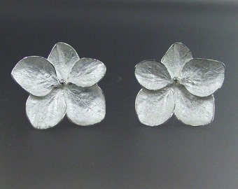Sterling Silver Flower Earrings, Hydrangea Earrings, Botanical Earrings, Post Earrings, Made to order