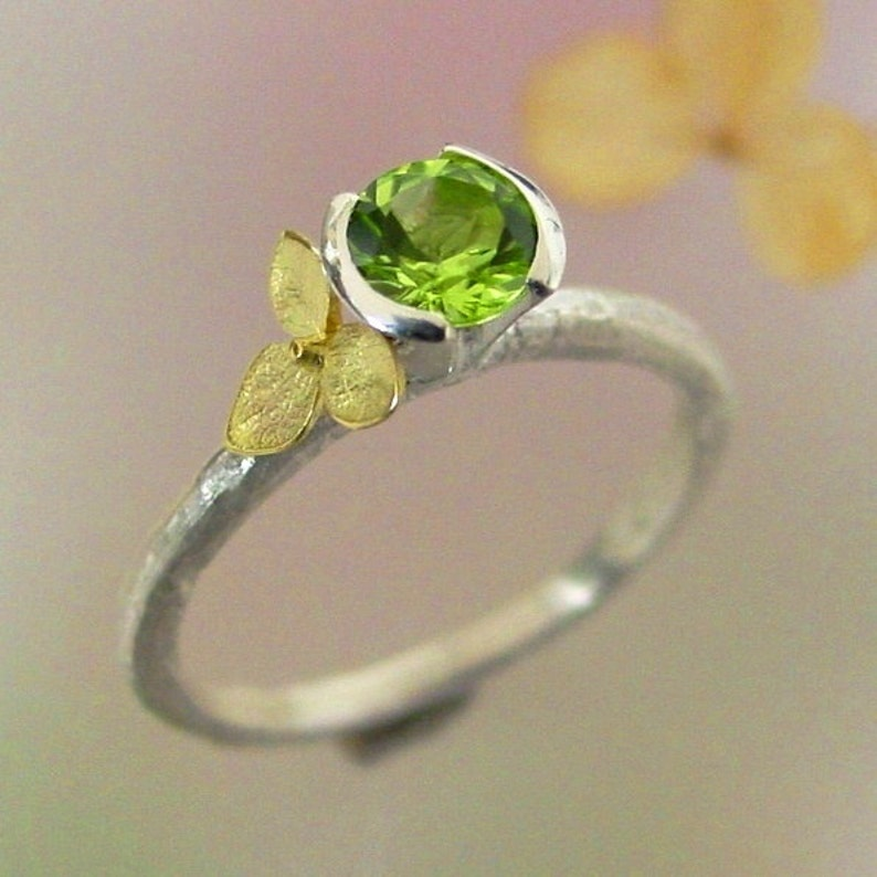543f2abbfd613 Peridot Stacking Ring, Hydrangea Peridot Ring, Sterling Silver, 18k Gold,  Flower Ring, August Birthstone, Botanical Jewelry, Made to Order