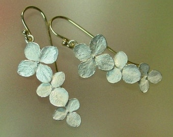 Hydrangea Flower Earrings, Botanical Earrings, Dangle Earrings, Silver Drop Earrings, Sterling, 14k Gold, Made to order