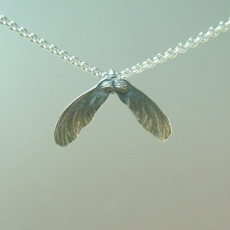 Silver Maple Seed Necklace, Delicate Necklace, Japanese Maple Seed Pendant,  Made to order