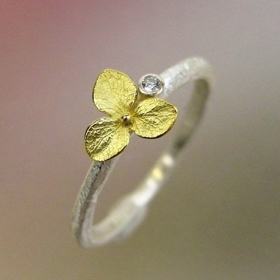 Hydrangea Blossom Diamond Engagement Ring, Floral Stacking Ring, Sterling Silver, Hydrangea Ring, 18k Gold Flower, Made to order