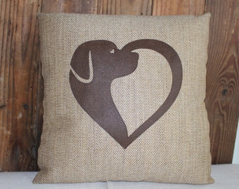 Labrador face and heart decorative pillow with Pleather accents and envelope closure 17 X 17