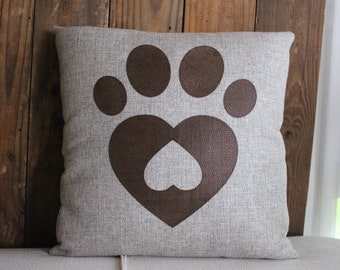 Paw and heart decorative pillow with Pleather accents and envelope closure 17 X 17