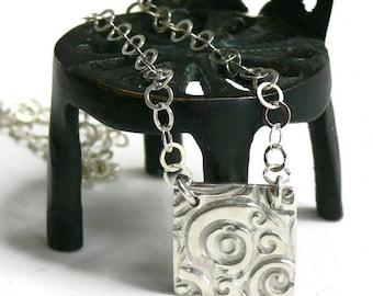Silver Art Clay Swirl Square Necklace