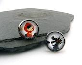 Little Red Riding Hood & Wolf. Cute glass cabochon earrings in blackened brass version. Fairy tale, children's jewellery, nickel-free earrings