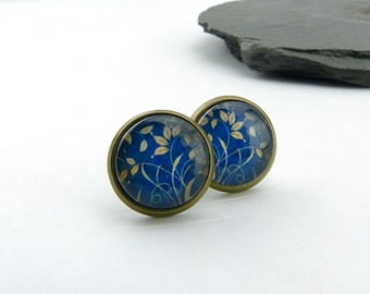 Delicate grass and leaves waving in the wind - poetic glass cabochon ear posts - 12 mm - set in antiqued brass - blue and beige - nickelfree