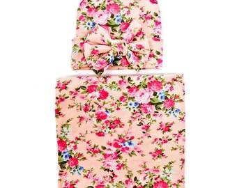 Newborn girl soft swaddle blanket W hat 6f2d83d208e3
