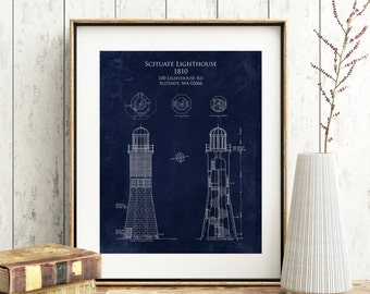 Scituate Lighthouse blueprint art, Scituate Harbor lighthouse gift, seaside beach decor, Old Scituate Light, nautical lighthouse decor
