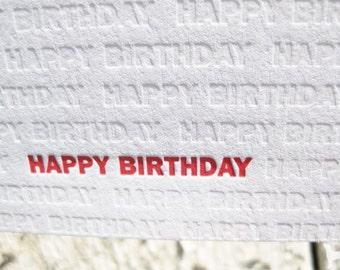 Birthday Letterpress Greeting Card - Modern Design w/ Blind Impression (single)