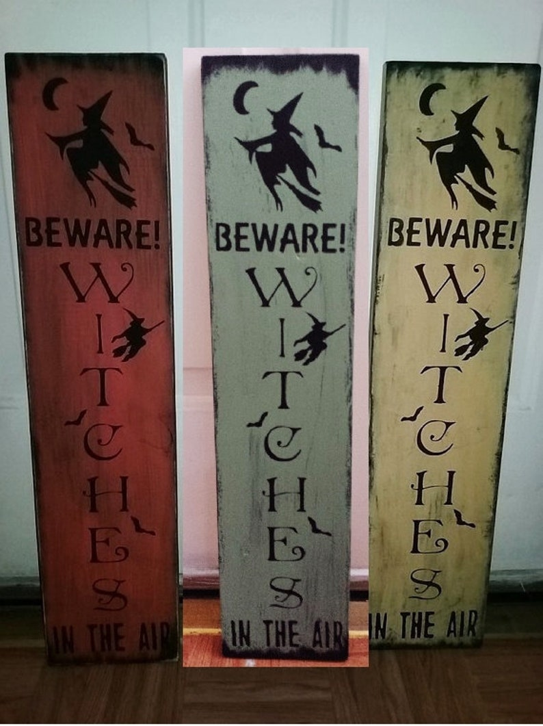 Primitive Sign Halloween Shelf Sitter Blocks Beware Witches in the Air!