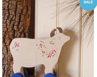 alpine cow push toy / folk art  / farmhouse folkloric / eco-friendly children /  vintage-inspired nursery