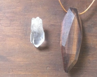 amulet | walnut wood crystal pendant  | mineral jewelry necklace in native walnut  (rock collection)