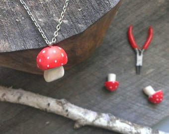 red-cap toadstool necklace /hand-carved woodland jewelry