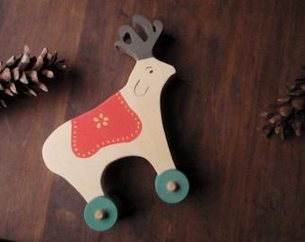 the wanderer /  folk art reindeer push toy - (vintage-inspired / scandinavian/ nursery decor)
