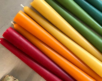 pure beeswax taper candles in technicolor