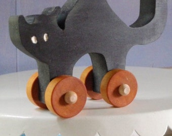Scardy Cat - Not Scary Black Cat - Traditional Folk Push Toy