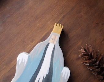 king winter / waldorf handcarved wooden figure / elsa beskow miniature doll / nature table