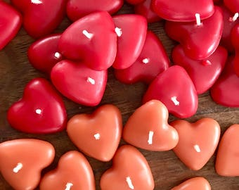 this little heart - pure beeswax heart candles- (set of three in red or rose gold)